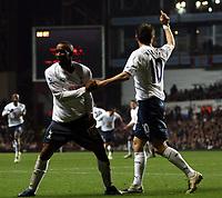 Photo: Mark Stephenson/Sportsbeat Images.<br /> Aston Villa v Tottenham Hotspur. The FA Barclays Premiership. 01/01/2008.Tottenham's Jermain Defoe (L) celebrates his goal with team mate Robbie Keane