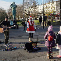 Busking in Marble Arch,London,UK