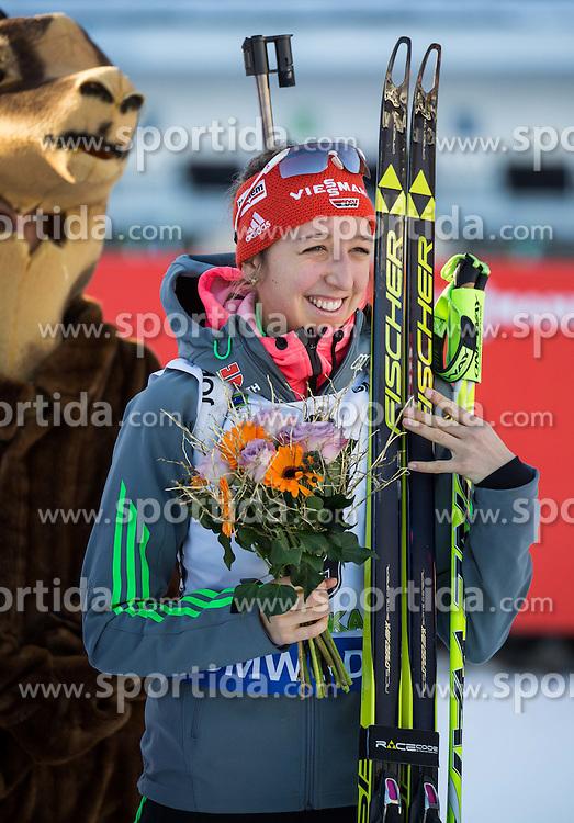 Franziska Preuss (GER) at medal ceremony after the Women 10 km Pursuit at day 3 of IBU Biathlon World Cup 2015/16 Pokljuka, on December 19, 2015 in Rudno polje, Pokljuka, Slovenia. Photo by Vid Ponikvar / Sportida