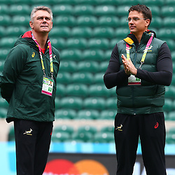 LONDON, ENGLAND - OCTOBER 16: Heyneke Meyer (Head Coach) of South Africa with Pieter Kruger during the South African national rugby team Captains Run and media conference at Twickenham Stadium on October 16, 2015 in London, England. (Photo by Steve Haag/Gallo Images)