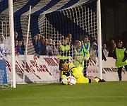 Dundee's Robert Douglas saves Callum MacDonald's penalty - Peterhead v Dundee,  Scottiish Communities League Cup at Balmoor
