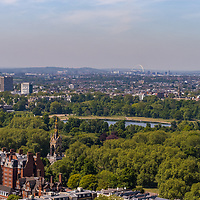 Aerial view across Hyde Park in central London in England