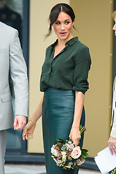 Meghan Markle, The Duchess of Sussex, leaves the University of Chichester, Bognor Regis, West Sussex, as part of their first joint official visit to Sussex. Picture date:  Wednesday October 3rd, 2018. Photo credit should read: Matt Crossick/ EMPICS.