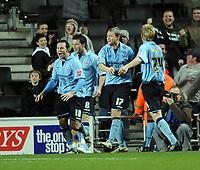 Fotball<br /> England<br /> Foto: Fotosports/Digitalsport<br /> NORWAY ONLY<br /> <br /> Milton Keynes Dons v Scunthorpe United Coca Cola League One 06.12.08 <br /> <br /> Garry Thompson celebratess Scunthorpe Utd's 2nd goal with team mates