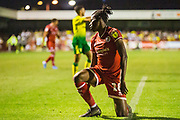 David Sesay (Crawley Town) picks himself up after his slide onto the pitch during the EFL Cup match between Crawley Town and Norwich City at The People's Pension Stadium, Crawley, England on 27 August 2019.