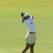 Wake Forest's Mariana Sims hits a chip shot Sunday October 26, 2014 during the 13th annual Landfall Tradition in Wilmington, N.C. (Jason A. Frizzelle)