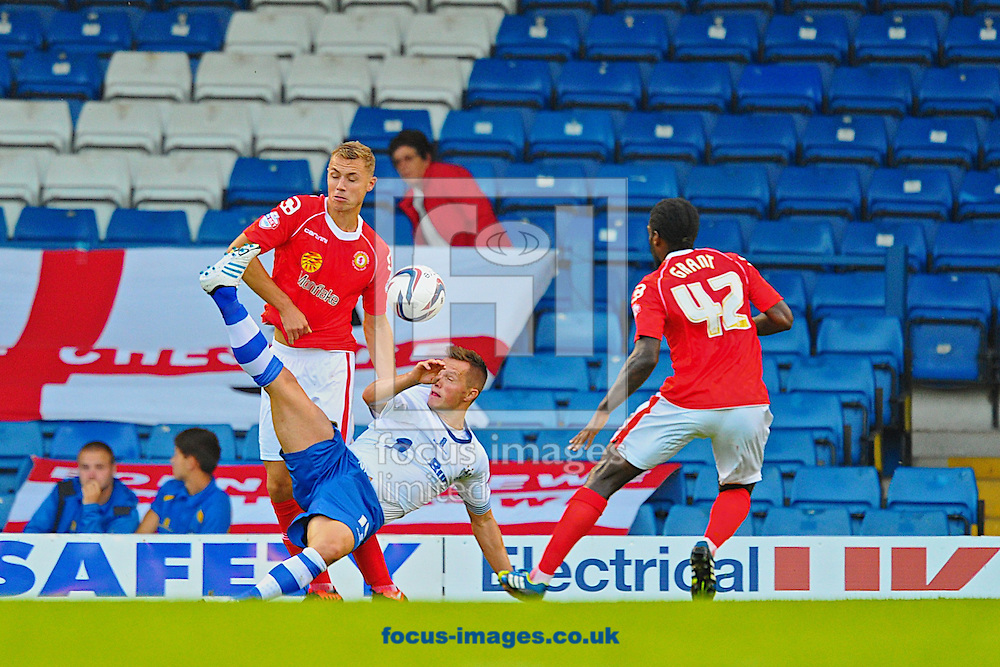 Picture by Ian Wadkins/Focus Images Ltd +44 7877 568959<br /> 06/08/2013<br /> Ashley Grimes of Bury attempts an overhead kick during the Capital One Cup match at Gigg Lane, Bury.