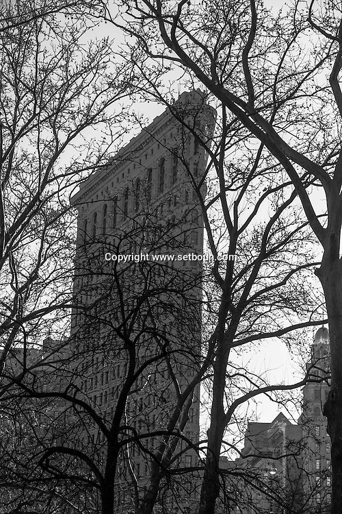 New York, The Flatiron building    on 23rd street and fifth avenue  view from madisson square park / Flatiron building.  sur la cinquieme avenue et la 23 em rue