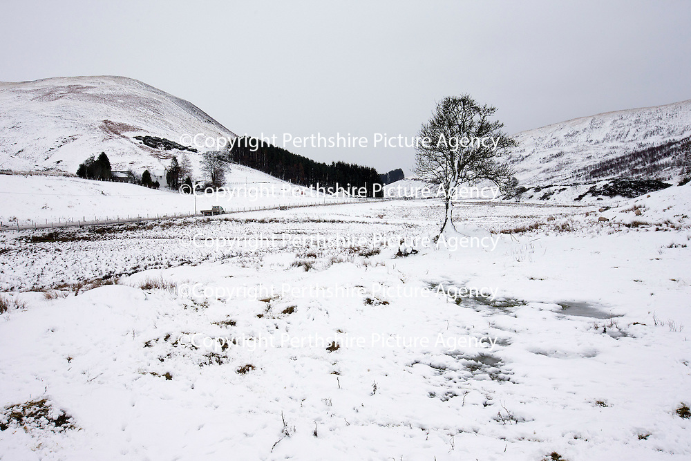 Wintry conditions for drivers as they make their way along the A823 Glendevon road in Perthshire...12.12.14<br /> Picture by Graeme Hart.<br /> Copyright Perthshire Picture Agency<br /> Tel: 01738 623350  Mobile: 07990 594431