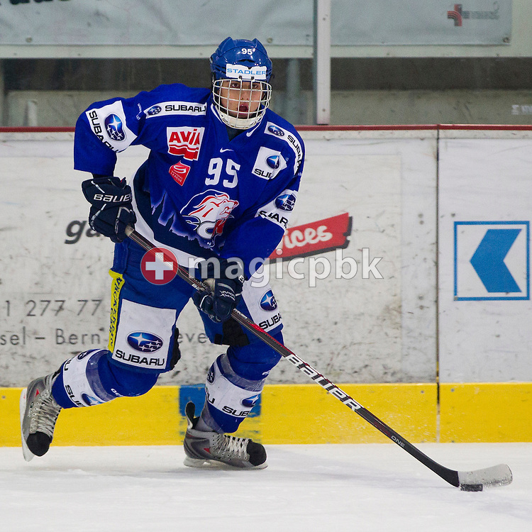 GCK Lions defenseman Phil Baltisberger is pictured during the ice hockey game of the Swiss National League B (Season 2011-2012) between GCK Lions and HC Thurgau held at the KEK in Kuesnacht, Switzerland, Sunday, Feb. 5, 2012. (Photo by Patrick B. Kraemer / MAGICPBK)