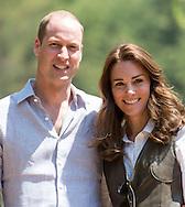 Prince William, Duke of Cambridge and Catherine, Duchess of Cambridge hike to Paro Taktsang, the Tiger's Nest monastery in Paro, Bhutan.