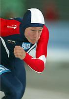 Skøyter, 2. november 2002Norgescup med verdenscup-uttak. Vikingskipet-Hamar. Petter Andersen, Norge.