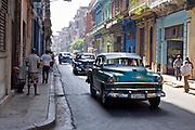 Havana, Cuba. Vintage American cars at Central Habana.