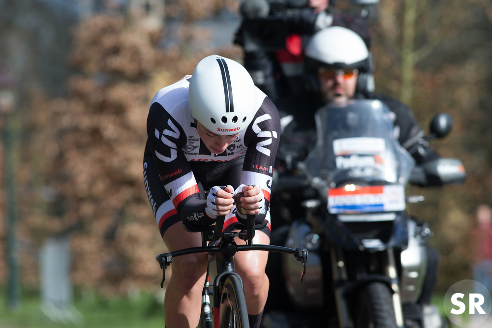 Julia Soek (NED) of Team Sunweb concentrates during Stage 1a of the Healthy Ageing Tour - a 16.9 km time trial, starting and finishing in Leek on April 5, 2017, in Groeningen, Netherlands.