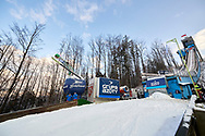Poland, Wisla Malinka - 2017 November 19: Skijumper soars through the air during FIS Ski Jumping World Cup Wisla 2017/2018 - Day 3 at jumping hill of Adam Malysz on November 19, 2017 in Wisla Malinka, Poland.<br /> <br /> Mandatory credit:<br /> Photo by © Adam Nurkiewicz<br /> <br /> Adam Nurkiewicz declares that he has no rights to the image of people at the photographs of his authorship.<br /> <br /> Picture also available in RAW (NEF) or TIFF format on special request.<br /> <br /> Any editorial, commercial or promotional use requires written permission from the author of image.
