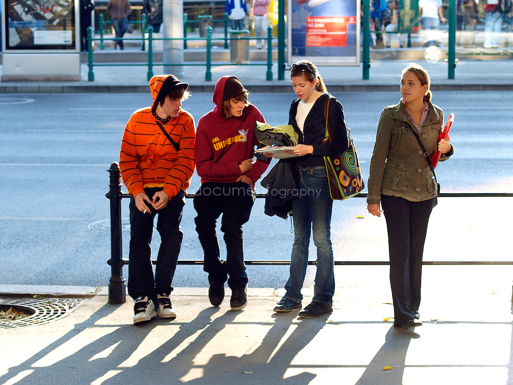 Young people in the centre of Budapest, Budapest, Hungary.