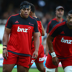 DURBAN, SOUTH AFRICA - MARCH 26: Mike Alaalatoa of the BNZ Crusaders with Jimmy Tupou during the Super Rugby match between Cell C Sharks and BNZ Crusaders at Growthpoint Kings Park on March 26, 2016 in Durban, South Africa. (Photo by Steve Haag)<br /> <br /> images for social media must have consent from Steve Haag