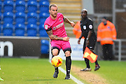 Hartlepool player Lewis Alessandra passes the ball along the sideline in the second half during the EFL Sky Bet League 2 match between Colchester United and Hartlepool United at the Weston Homes Community Stadium, Colchester, England on 25 February 2017. Photo by Ian  Muir.