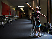 Breathless<br /> <br /> Newton, Ma 072308   Mobius Syndrom victim, six-year old Jessica Leahey, who uses a respirator hooked up to her through a tracheotomy,  shows off her ballet moves while at summer camp at the Day Middle School in Newton on July 23, 2008. (Essdras M Suarez/Boston Globe)/ Metro