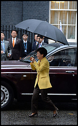 President of the Republic of Korea Her Excellency Park Geun-hye arrives to meet Prime Minister David Cameron at No10 Downing Street, London, United Kingdom. Wednesday, 6th November 2013. Picture by Andrew Parsons / i-Images