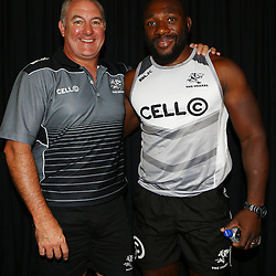 DURBAN, SOUTH AFRICA - MARCH 03: Gary Gold (Sharks Director of Rugby) with Tendai Beast Mtawarira during the Cell C Sharks press conference at Growthpoint Kings Park on March 03, 2016 in Durban, South Africa. (Photo by Steve Haag/Gallo Images)