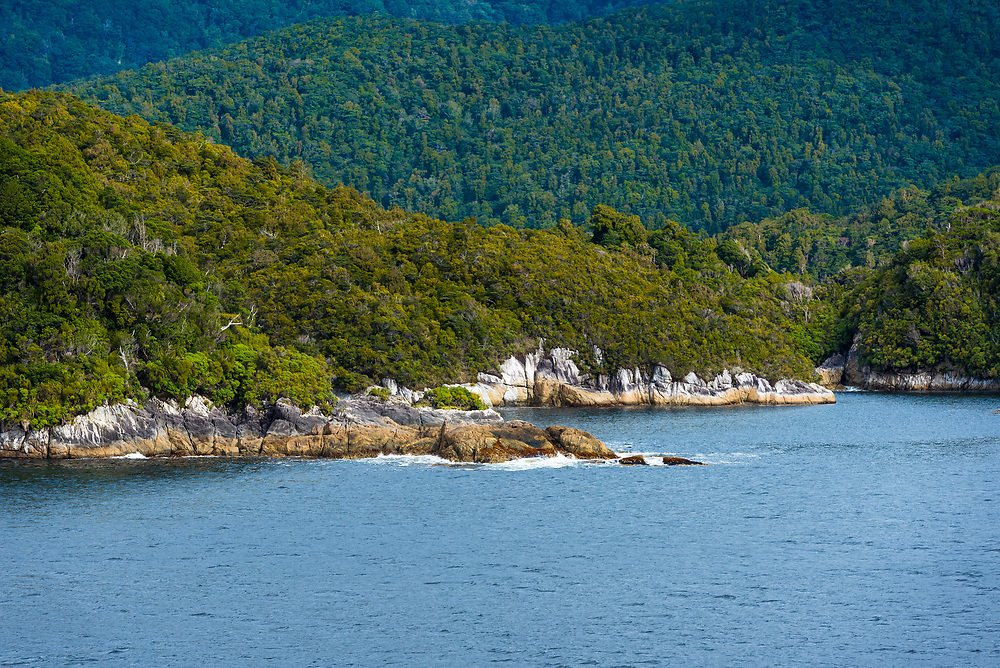 View of island coastlines along Dusky Sound