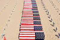 Crosses and Coffins Draped with the U.S. Flag, Arlington West Memorial / Santa Monica, California