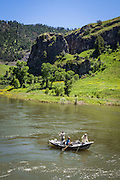 Trout fishing on the Missouri River in the Hardy Creek area near Great Falls, Montana