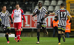 January 19, 2018 - Charleroi, BELGIUM - Charleroi's Mamadou Fall celebrates after scoring during the Jupiler Pro League match between Sporting Charleroi and Royal Excel Mouscron, in Charleroi, Friday 19 January 2018, on the day 22 of the Jupiler Pro League, the Belgian soccer championship season 2017-2018. BELGA PHOTO VIRGINIE LEFOUR (Credit Image: © Virginie Lefour/Belga via ZUMA Press)