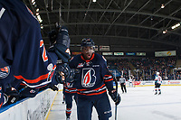 KELOWNA, CANADA - FEBRUARY 24:  Jermaine Loewen #32 of the Kamloops Blazers celebrates a second period goal against the Kelowna Rockets on February 24, 2018 at Prospera Place in Kelowna, British Columbia, Canada.  (Photo by Marissa Baecker/Shoot the Breeze)  *** Local Caption ***
