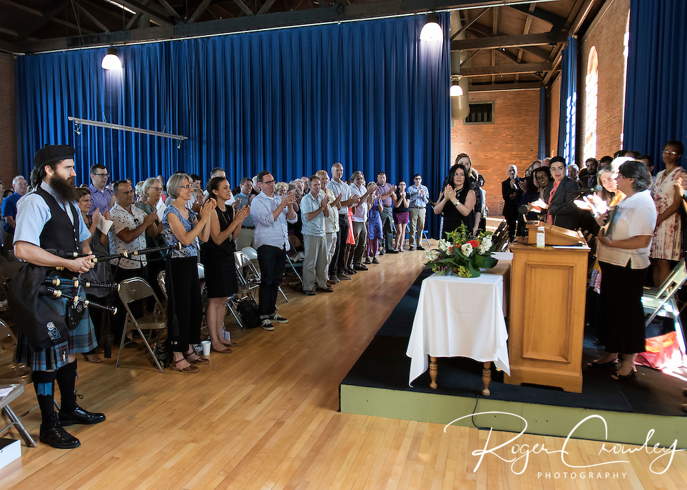 MONTPELIER VT - 2016 MFA in Writing graduation was held in Alumni Hall at Vermont College of Fine Arts featuring presentation of Doctor of Humane Letters to Louise Harwood Crowley by President Tom Greene.