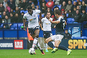 Bolton Striker Sammy Ameobi challenged by Southend United defender Ryan Leonard (18) during the EFL Sky Bet League 1 match between Bolton Wanderers and Southend United at the Macron Stadium, Bolton, England on 3 September 2016. Photo by Pete Burns.