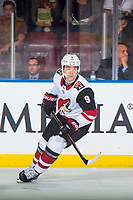 KELOWNA, BC - SEPTEMBER 29: Clayton Keller #9 of the Arizona Coyotes skates against the Arizona Coyotes at Prospera Place on September 29, 2018 in Kelowna, Canada. (Photo by Marissa Baecker/NHLI via Getty Images)  *** Local Caption *** Clayton Keller;