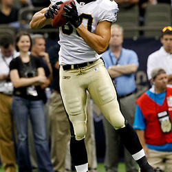 August 12, 2011; New Orleans, LA, USA; New Orleans Saints tight end Jimmy Graham (80) prior to kickoff of a preseason game against the San Francisco 49ersat the Louisiana Superdome. Mandatory Credit: Derick E. Hingle