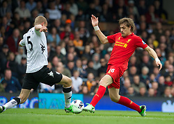 12.05.2013, Craven Cottage, London, ENG, Premier League, FC Fulham vs FC Liverpool, 37. Runde, im Bild Liverpool's Sebastian Coates in action against Fulham during during the English Premier League 37th round match between Fulham FC and Liverpool FC at the Craven Cottage, London, Great Britain on 2013/05/12. EXPA Pictures © 2013, PhotoCredit: EXPA/ Propagandaphoto/ David Rawcliffe..***** ATTENTION - OUT OF ENG, GBR, UK *****
