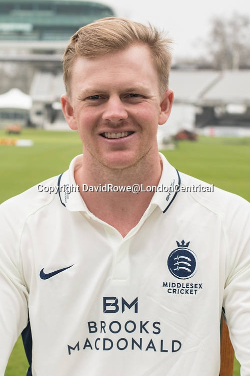 11 April 2018, London, UK.  Sam Robson  of Middlesex County Cricket Club in the County Championship white kit .