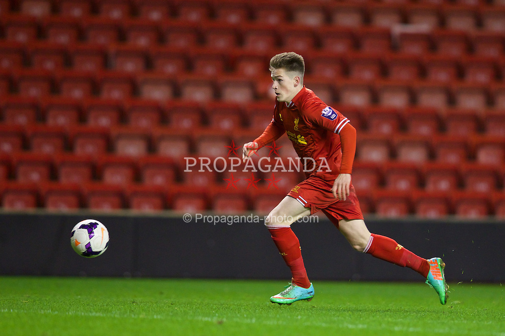 LIVERPOOL, ENGLAND - Friday, March 21, 2014: Liverpool's Ryan Kent in action against Newcastle United during the Under 21 FA Premier League match at Anfield. (Pic by David Rawcliffe/Propaganda)