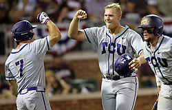 TCU's Luken Baker (19) celebrates with teammate Josh Watson (7) after a three run homer against Texas A&M during the 3rd inning of a NCAA college baseball super regional tournament game, Friday, June 10, 2016, in College Station, Texas. (AP Photo/Sam Craft)