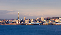 Waterfront of Seattle, Washington and the Space Needle, USA.