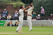 Wicket - Lewis Gregory of Somerset celebrates taking the wicket of Chris Nash of Nottinghamshire with Tom Abell of Somerset during the Specsavers County Champ Div 1 match between Somerset County Cricket Club and Nottinghamshire County Cricket Club at the Cooper Associates County Ground, Taunton, United Kingdom on 10 June 2018. Picture by Graham Hunt.