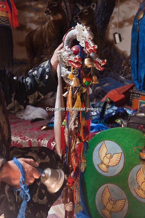 Mongolia. Ulaanbaatar. Mr Tserendolgor,  master shaman and Mrs Batzaya Otgonzaya the student shaman , during  a shamanic ceremony in a yurt  . Ulaan baatar