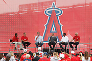 ANAHEIM, CA - APRIL 22:  Fans watch as an announcer talks to former Los Angeles Angels of Anaheim players Clyde Wright, Chuck Finley, Jim Abbott, Garret Anderson, and Mike Witt at FanFest before the game against the Baltimore Orioles on Sunday, April 22, 2012 at Angel Stadium in Anaheim, California. The Orioles won the game 3-2 in ten innings. (Photo by Paul Spinelli/MLB Photos via Getty Images) *** Local Caption *** Clyde Wright;Chuck Finley;Jim Abbott;Garret Anderson;Mike Witt