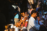 A chai seller on the streets of old Kolkata.