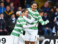 07/02/15 WILLIAM HILL SCOTTISH CUP 5TH RND<br /> DUNDEE v CELTIC<br /> DENS PARK - DUNDEE<br /> Celtic's Stefan Johansen (left) celebrates his goal with team-mate Virgil Van Dijk