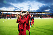 &Ouml;STERSUND, SWEDEN - AUGUST 24: Saman Ghoddos and Curtis Edwards of Oestersunds FK celebrates after the victory during the UEFA Europa League Qualifying Play-Offs round second leg match between &Ouml;stersunds FK and PAOK Saloniki at J&auml;mtkraft Arena on August 24, 2017 in &Ouml;stersund, Sweden. Foto: Nils Petter Nilsson/Ombrello<br /> ***BETALBILD***