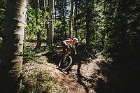 Macky Franklin enjoying the trails at Deer Valley Resort, Wasatch Range, Utah.