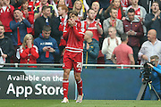 Middlesbrough midfielder, on loan from Southampton, Gaston Ramirez (21)  misses during the Sky Bet Championship match between Middlesbrough and Brighton and Hove Albion at the Riverside Stadium, Middlesbrough, England on 7 May 2016. Photo by Simon Davies.