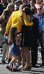 Bradley Wiggins with his wife and family  after  winning  the Tour de France in Paris, Sunday, 22nd July 2012.  Photo by:  i-Images / Bureau233