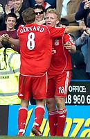 Photo: Ed Godden/Sportsbeat Images.<br />Reading v Liverpool. The Barclays Premiership. 07/04/2007. Liverpool's Dirk Kuyt (R) celebrates after scoring the winning goal.