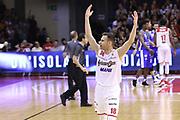 Llompart Pedro esultanza Grissin Bon, GRISSIN BON REGGIO EMILIA vs BANCO DI SARDEGNA SASSARI, Campionato Lega Basket Serie A 2018/2019, PalaBigi 7 ottobre 2018 - FOTO: Bertani/Ciamillo